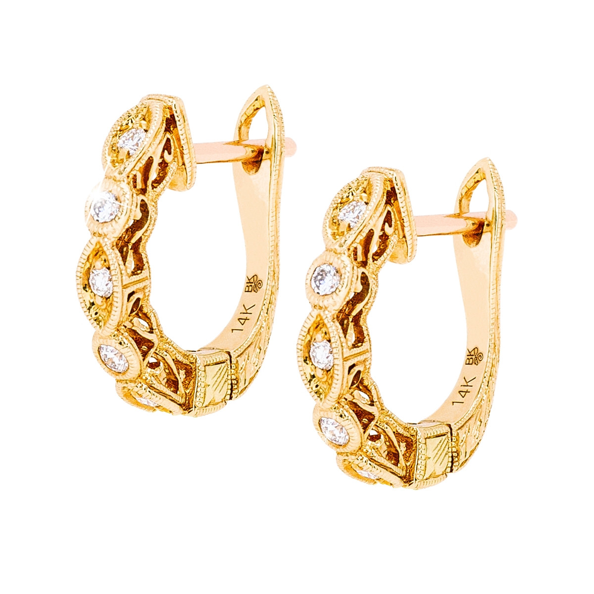 New Beverley K 0.13 CTW Diamond Alternating Hoop Earrings