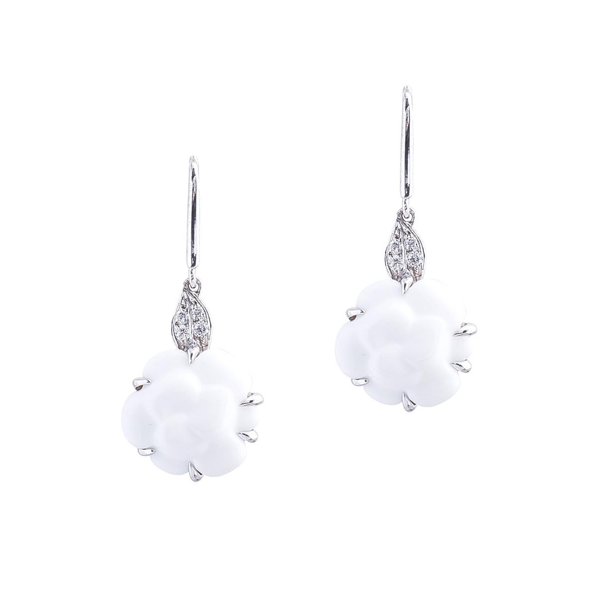 Vintage Chanel Camelia White Agate Diamond Dangle Earrings Gallery Image