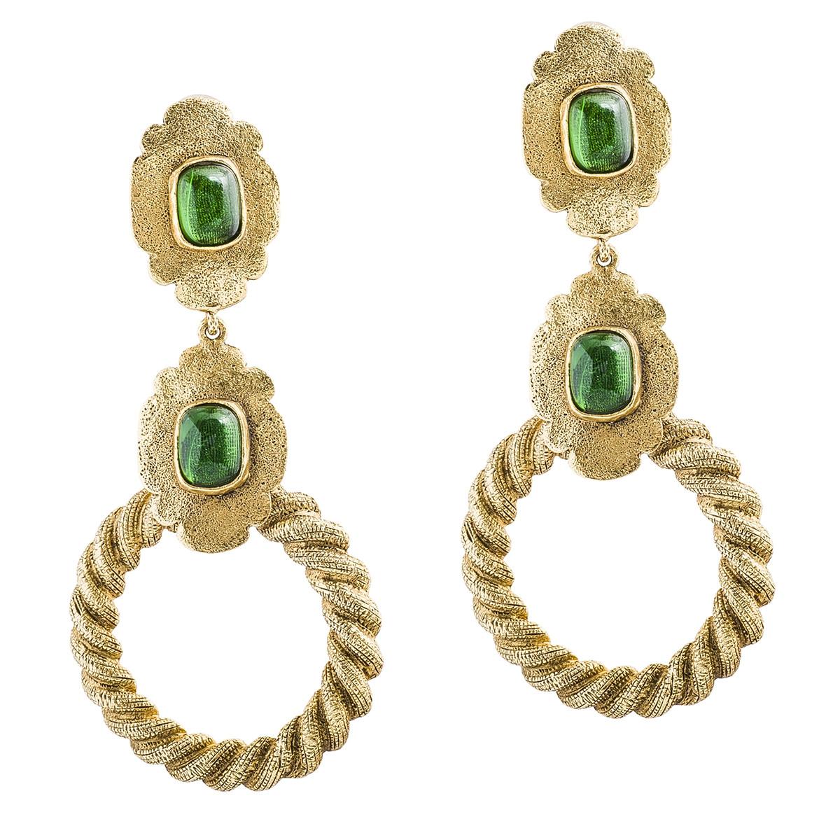 Vintage Chanel Green Gripoix Drop Earrings