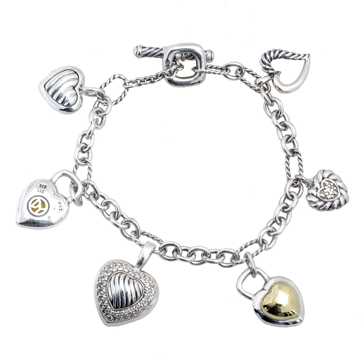 David Yurman Charm Bracelet: Vintage David Yurman 0.40 CTW Diamond & Citrine Heart