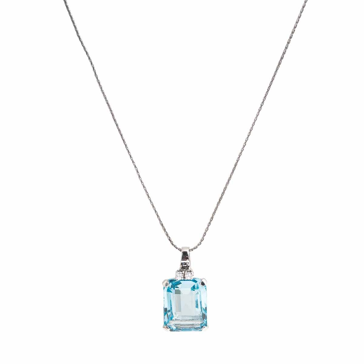Vintage 9.58 CTW Aquamarine & Diamond Necklace