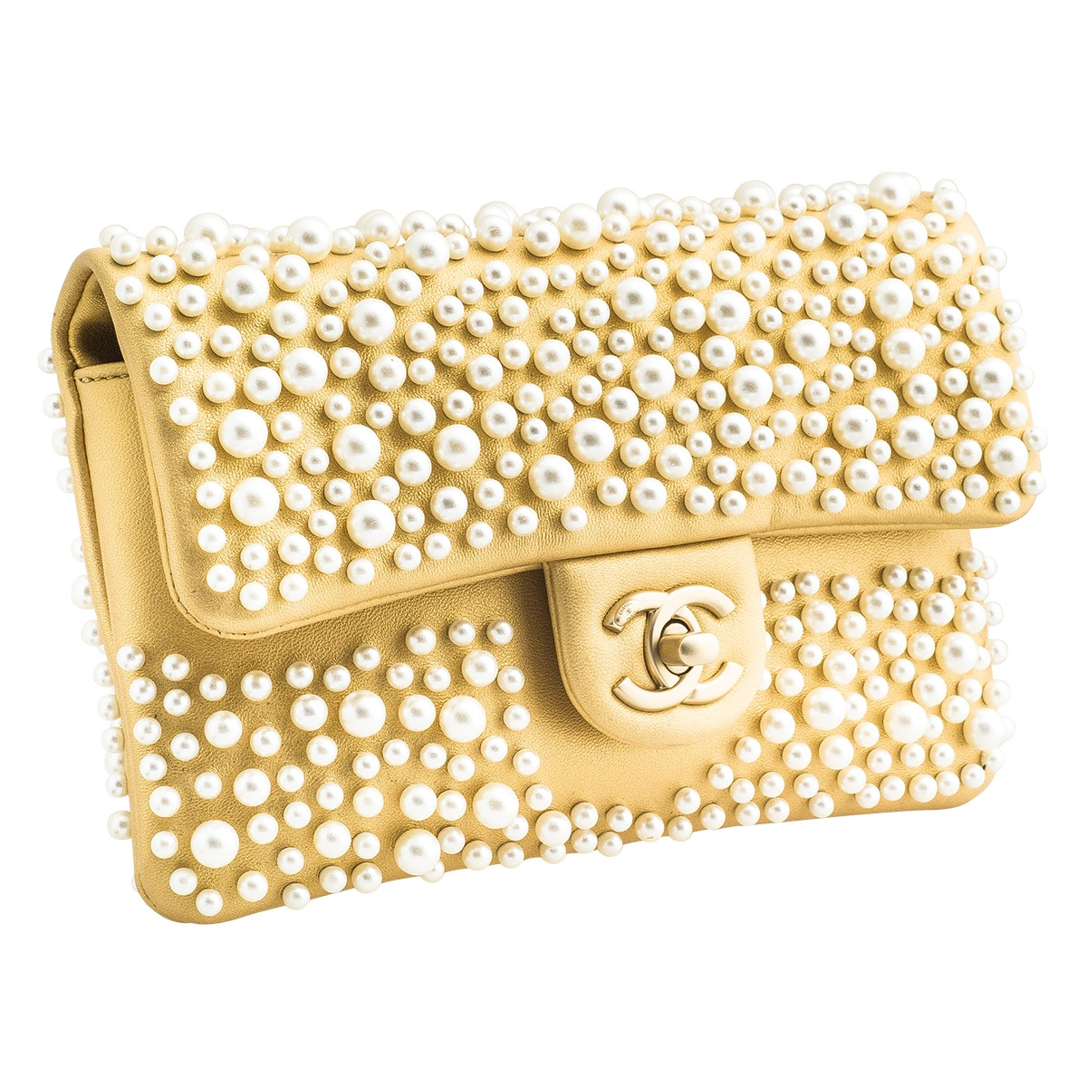 ab0557df2e49 Vintage Chanel Pearly Gold Flap Clutch Gallery Image