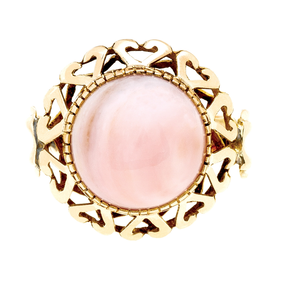 Vintage 7.00 CT Pink Opal Halo Ring
