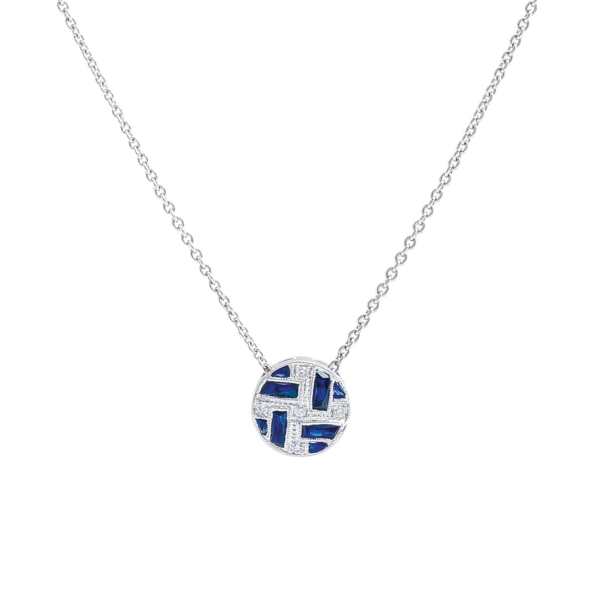 New Beverley K 0.49 CTW Blue Sapphire & Diamond Geometric Circle Necklace