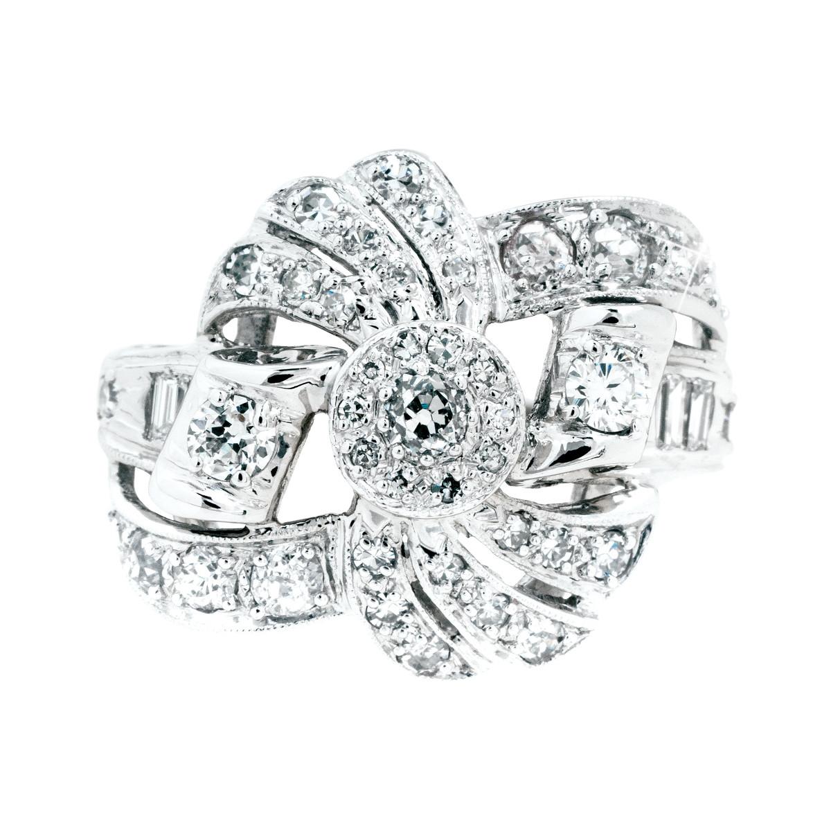 Retro 0.65 CTW Diamond Bow Ring