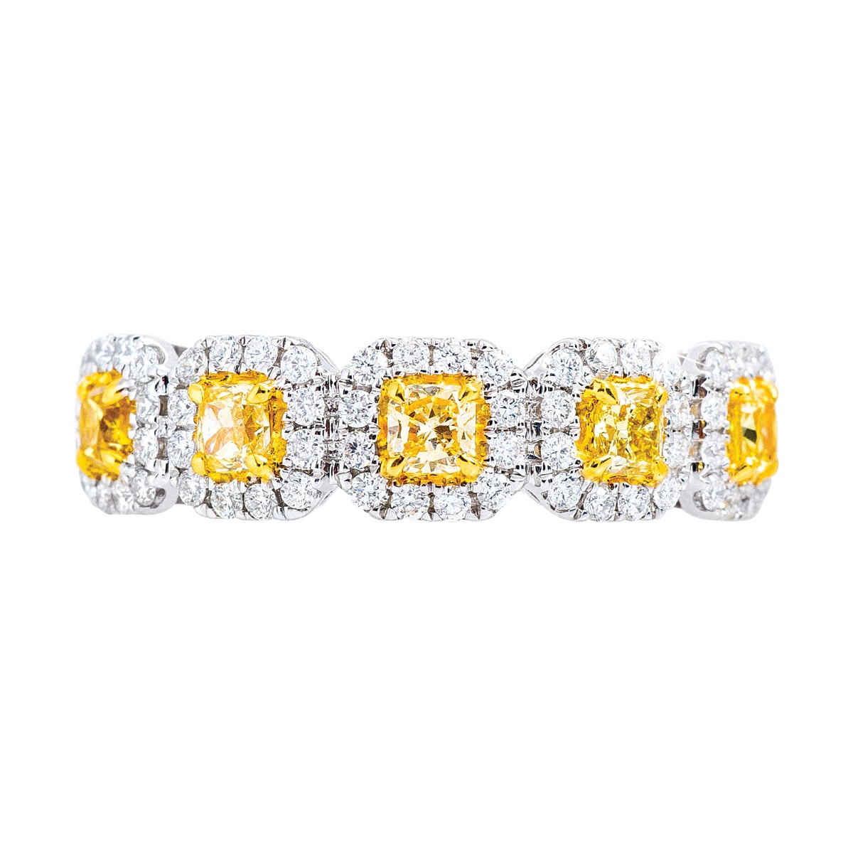 New 0.91 CTW Fancy Yellow & White Diamond Anniversary Band