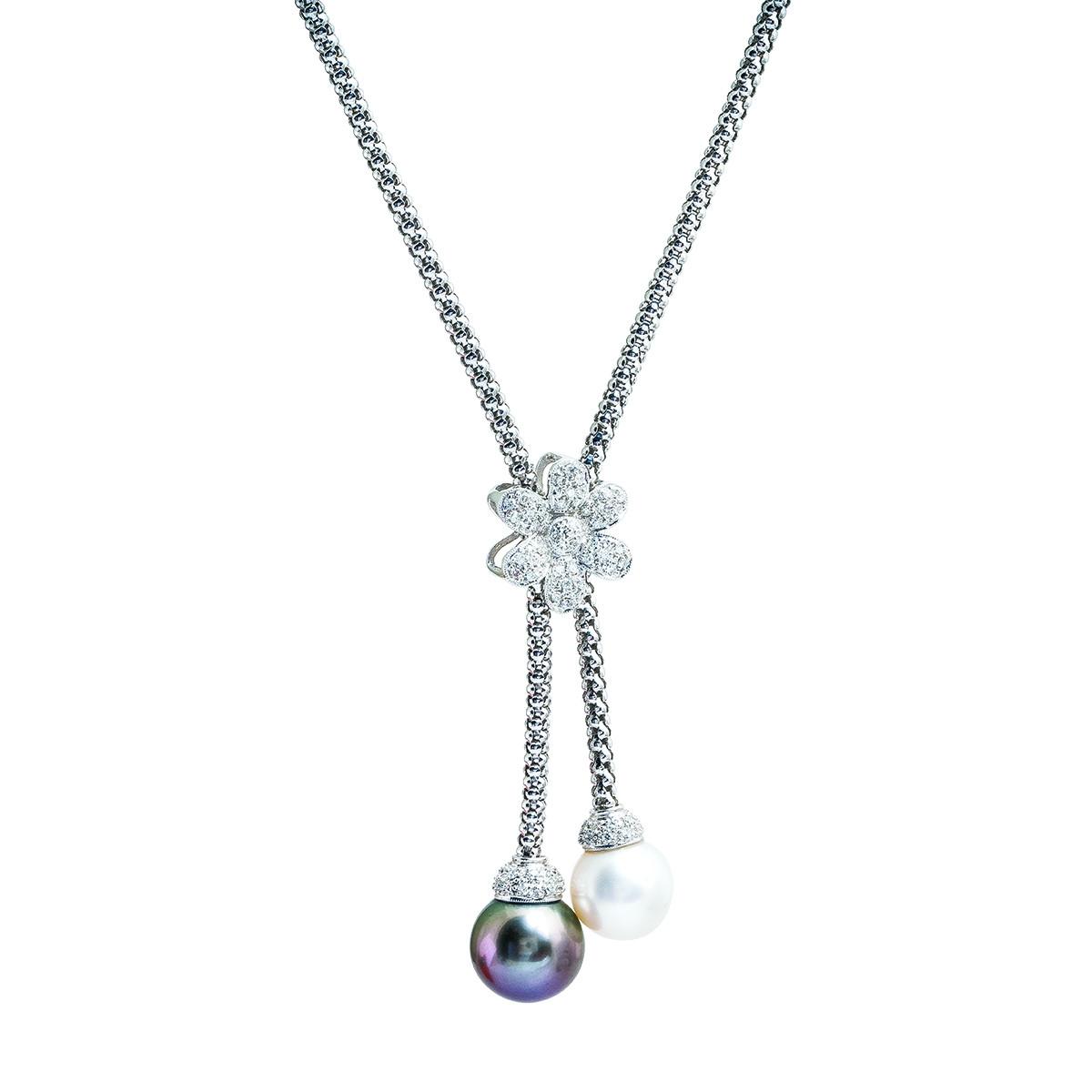 Vintage 0.50 CTW Diamond & Pearl Flower Lariat Necklace
