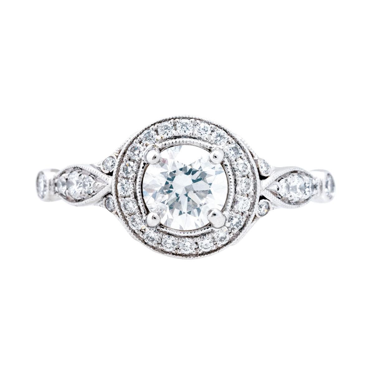 Vintage Simon G 0.96 CTW Halo Engagement Ring