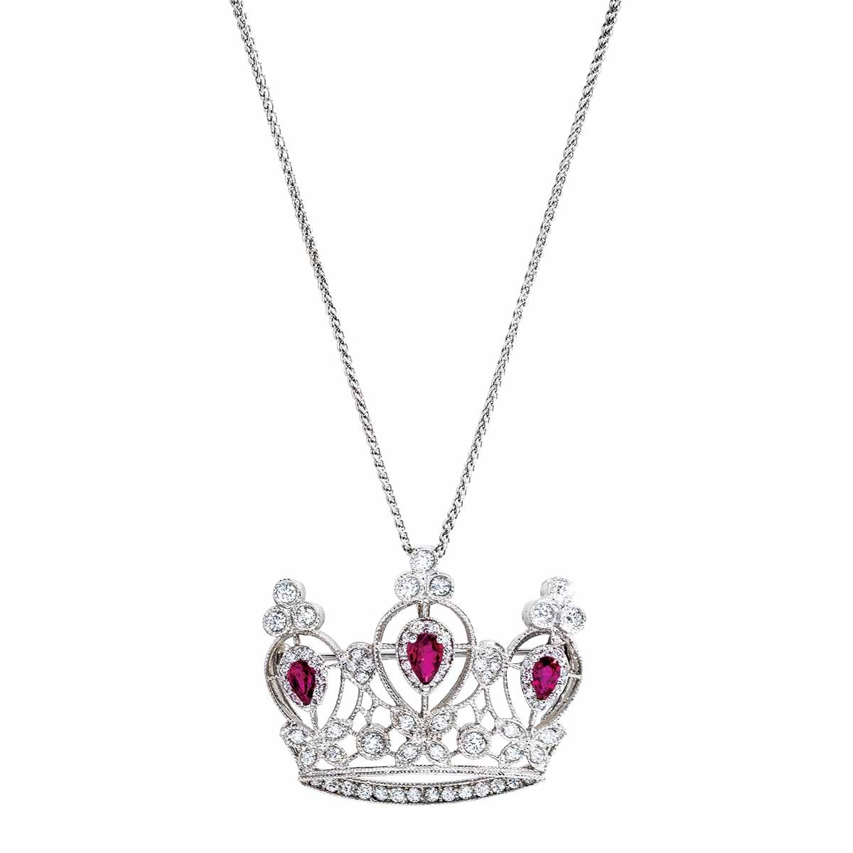 Vintage 2.37 CTW Diamond & Ruby Tiara Necklace