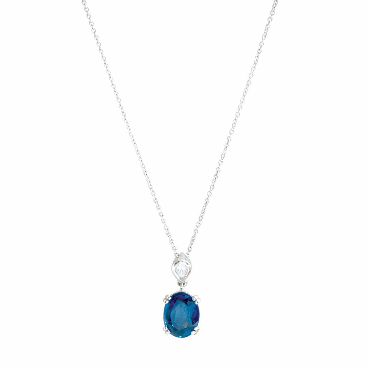 Vintage 2.10 CTW Blue Sapphire & Diamond Necklace