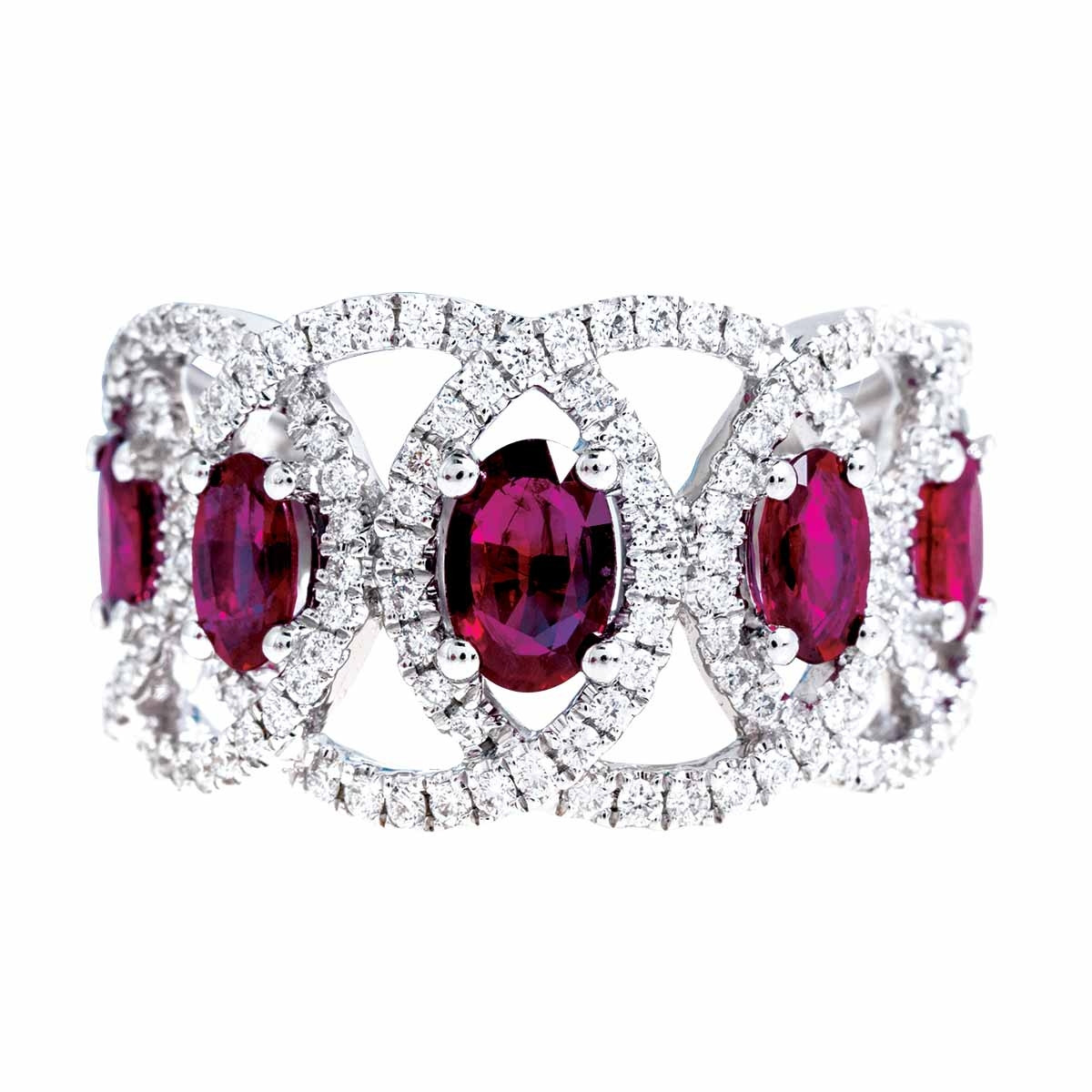 New 2.14 CTW Ruby & Diamond Interlocking Ring