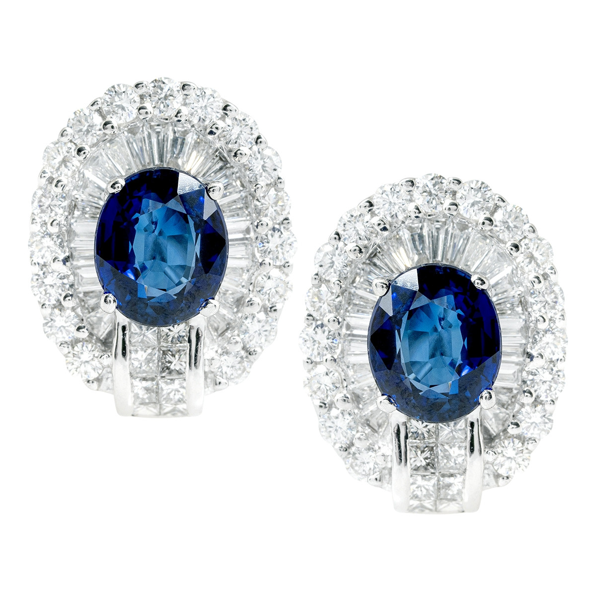 Vintage 6.00 CTW Sapphire & Diamond Halo Earrings