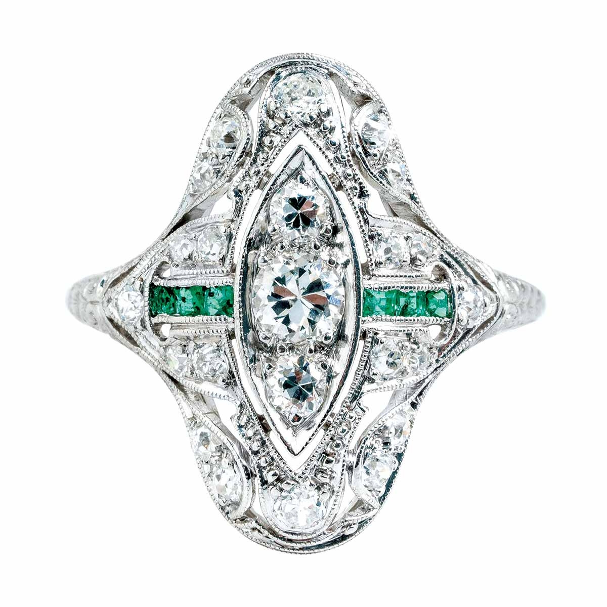 Vintage 0.59 CTW Diamond & Emerald Ring