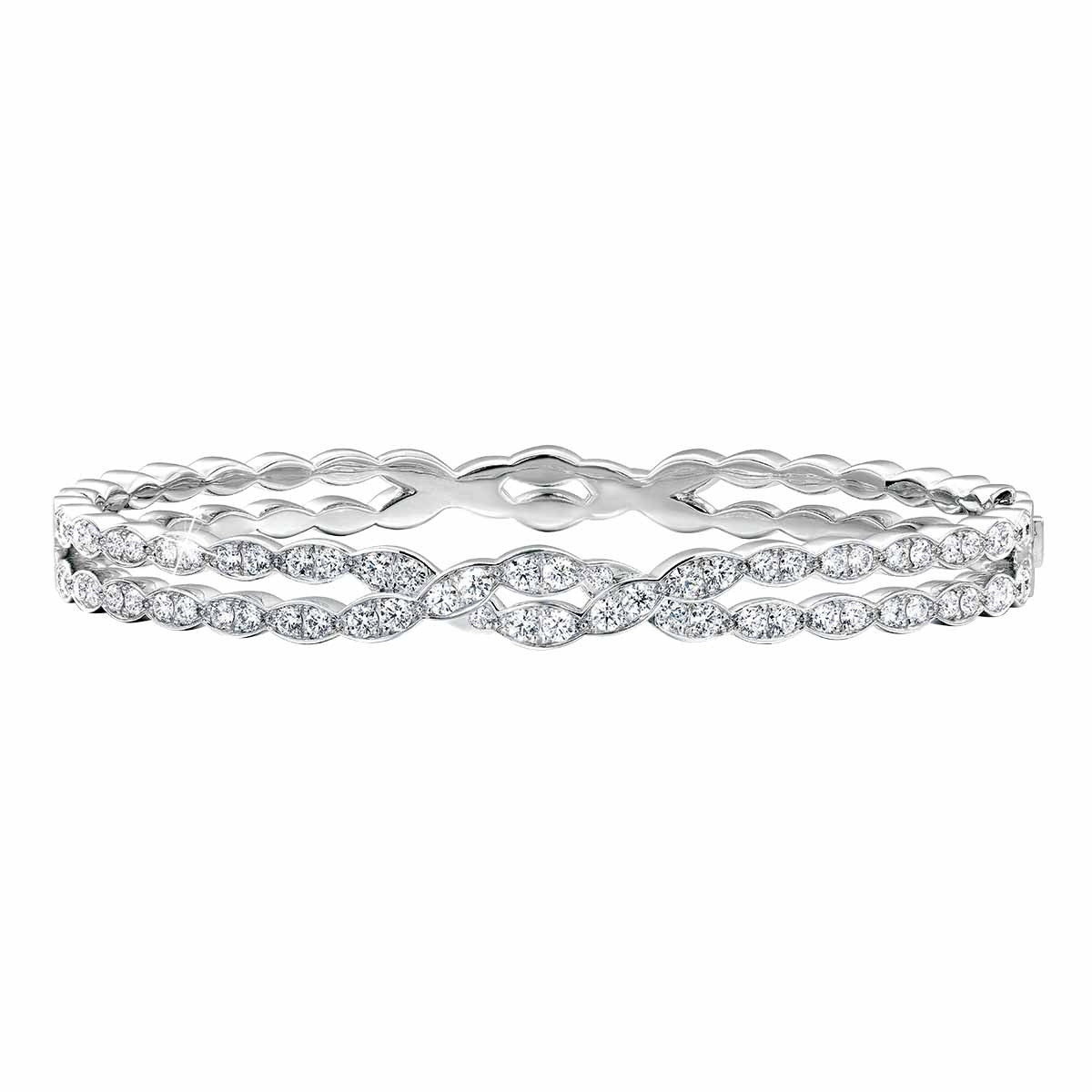 New Hearts On Fire® 1.52 CTW Diamond Lorelei Floral Double Twist Bangle Bracelet