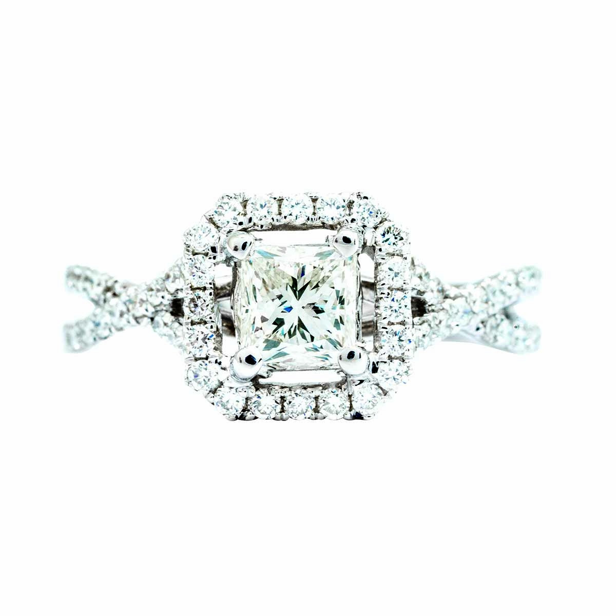 Vintage 0.96 CTW Diamond Halo Crossover Engagement Ring