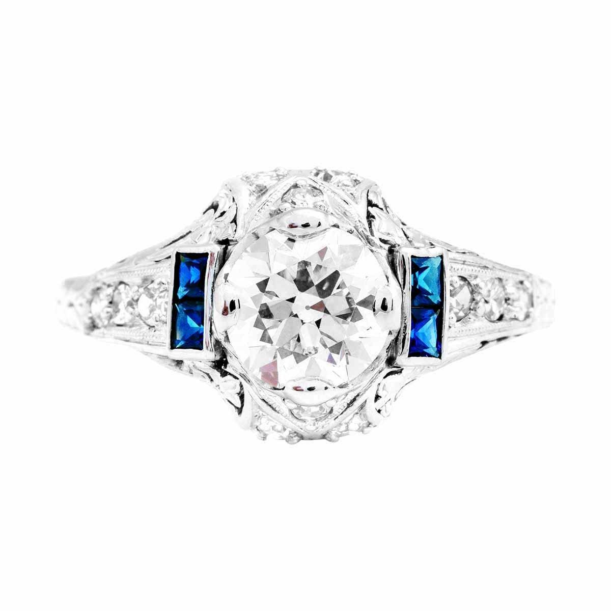 Antique 1.36 CTW Diamonds & Sapphire Ring
