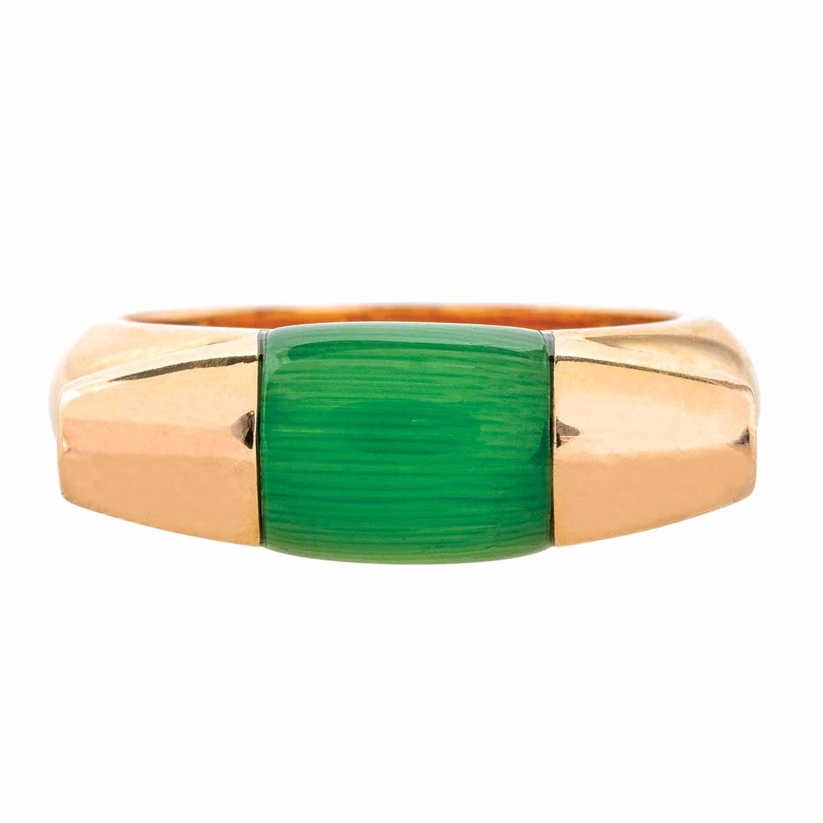 Vintage Ferragamo Green Quartz Gancino Ring