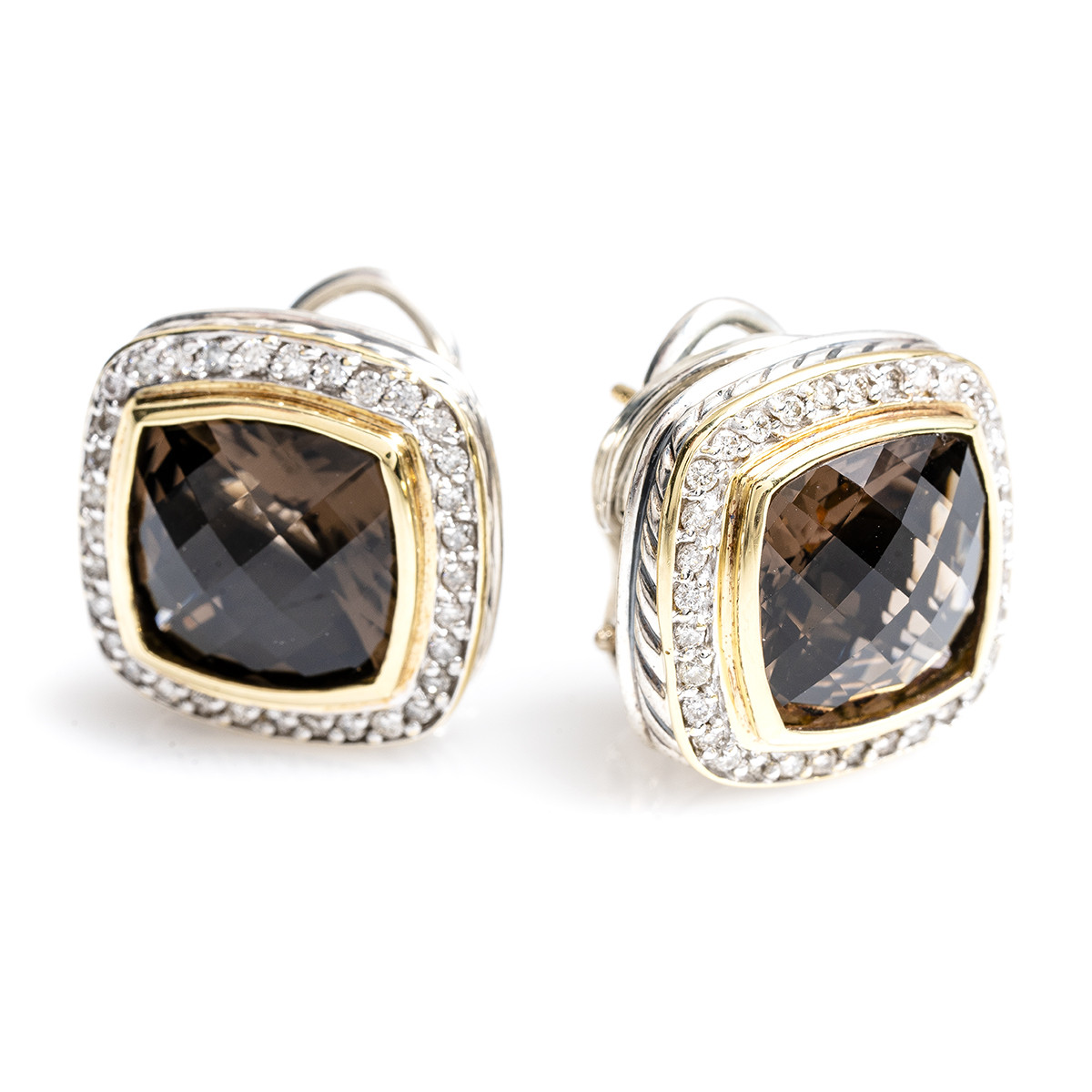Vintage David Yurman 0.64 CTW Diamond & Smokey Quartz Albion Earrings