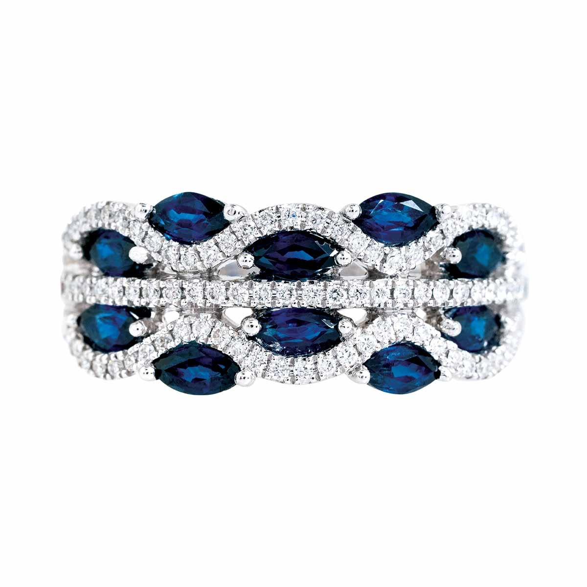 New Asba & Dangler 1.28 CTW Blue Sapphire & Diamond Band