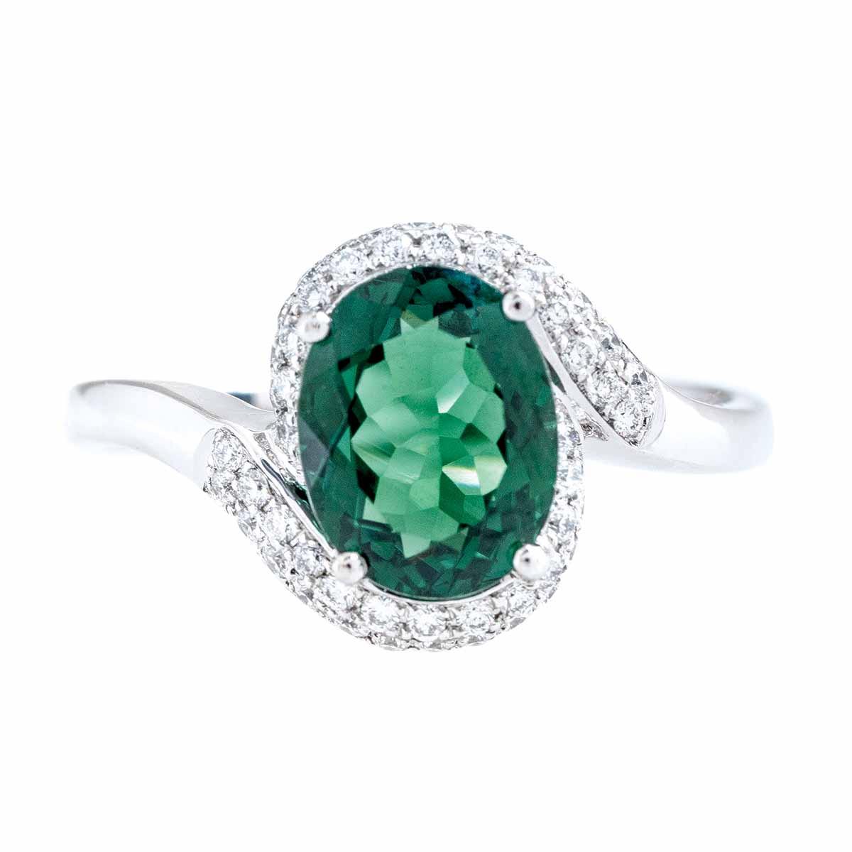 New Asba & Dangler 2.14 CTW Green Tourmaline & Diamond Halo Ring