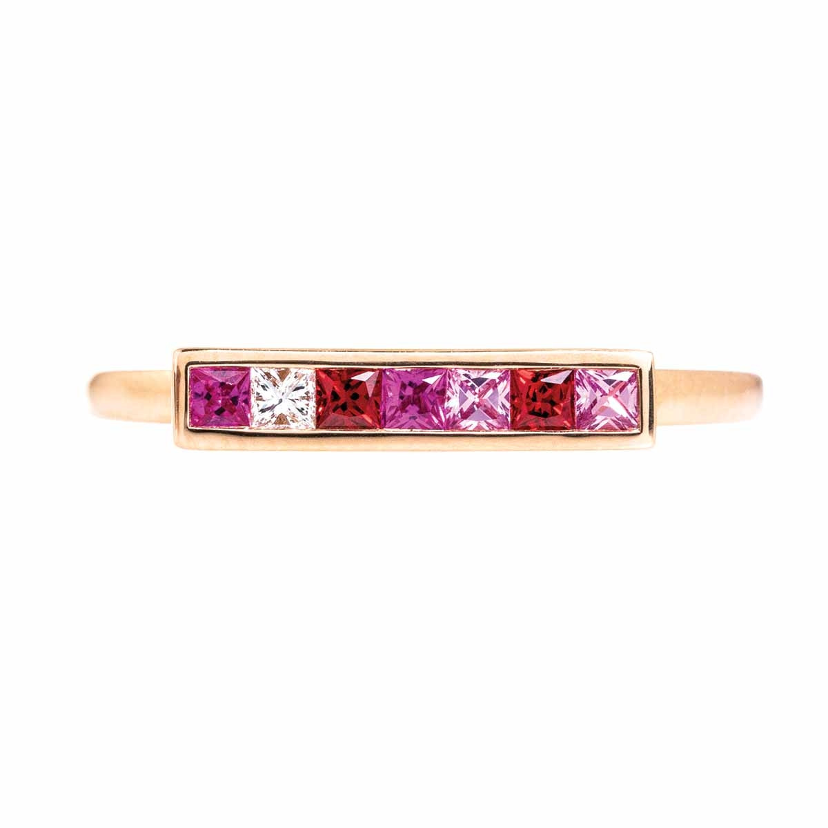 New Asba & Dangler 0.34 CTW Pink Sapphire & Diamond Bar Ring