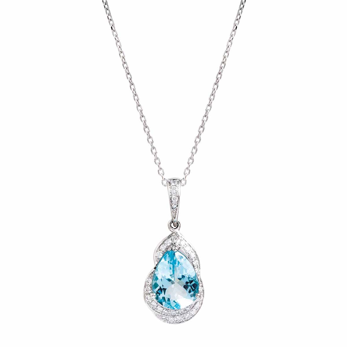 New Asba & Dangler 2.23 CTW Aquamarine & Diamond Halo Necklace