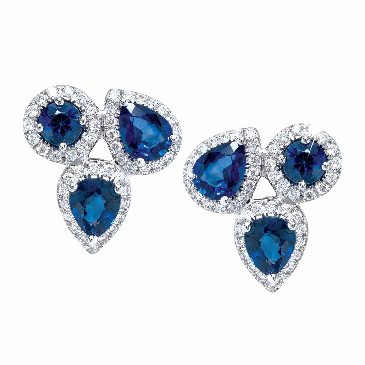 New Asba & Dangler 2.45 CTW Blue Sapphire & Diamond Halo Stud Earrings