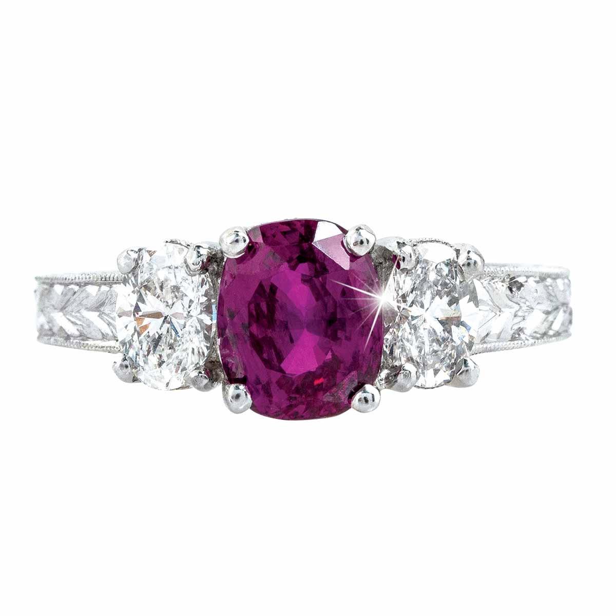 Vintage 2.96 CTW Pink Sapphire & Diamond Engagement Ring