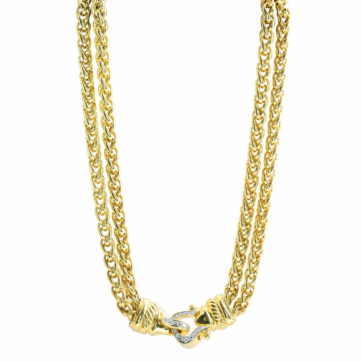 Vintage David Yurman 0.67 CTW Diamond Buckle Necklace