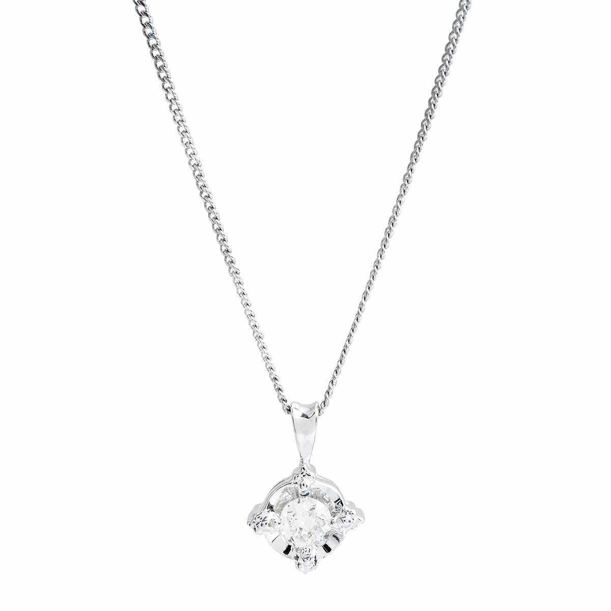 Vintage 0.21 CT Diamond Compass Necklace