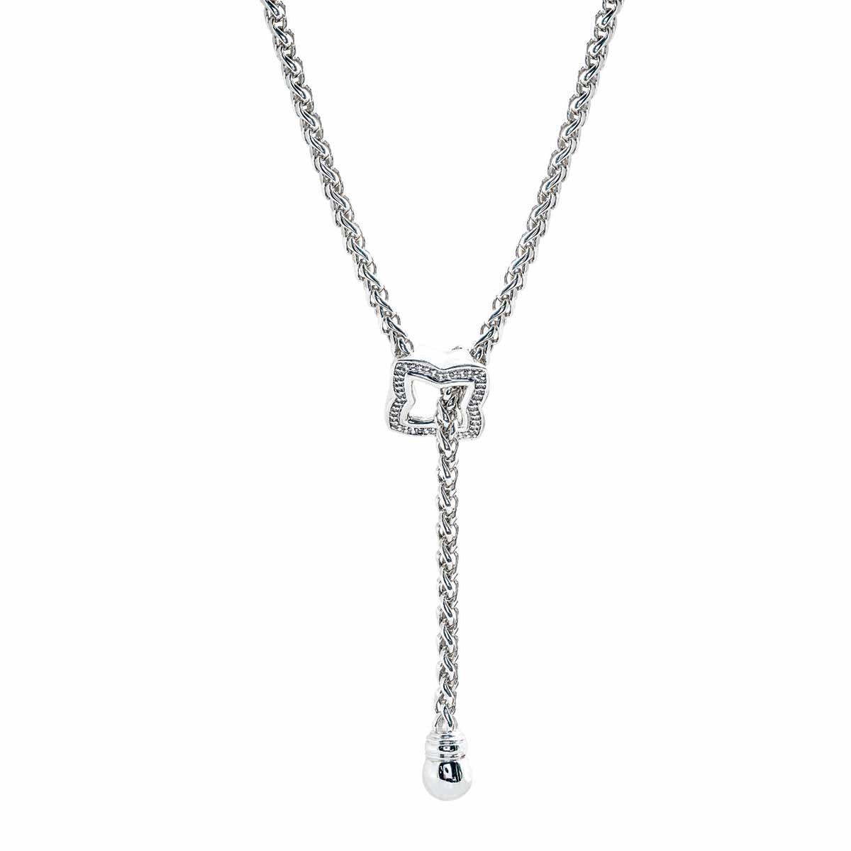 Vintage David Yurman 0.44 CTW Diamond Quatrefoil Lariat Necklace
