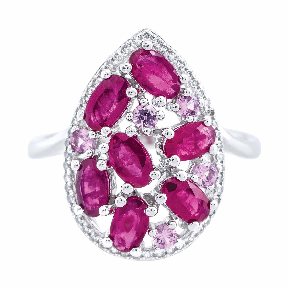 New 2.30 CTW Ruby, Pink Sapphires & Diamond Halo Ring