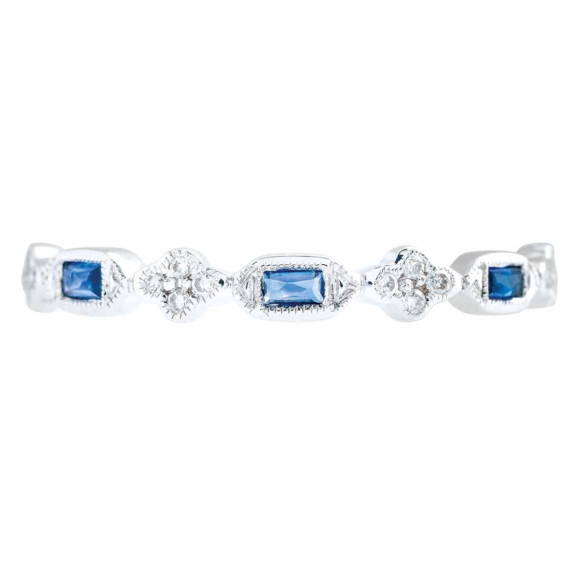 New Venetti 0.21 CTW Blue Sapphire & Diamond Clover Anniversary Band