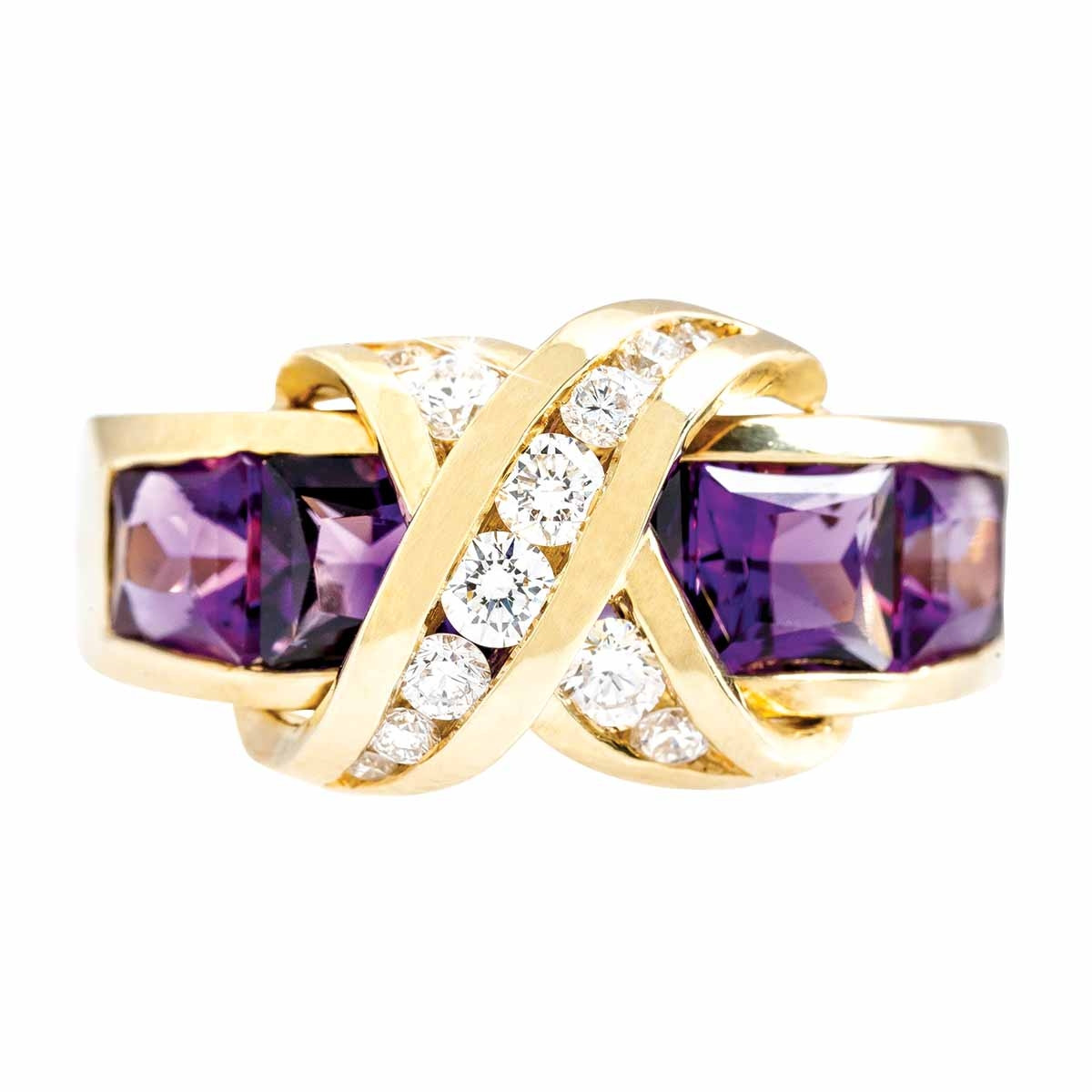Vintage 2.89 CTW Amethyst & Diamond Crossover Ring