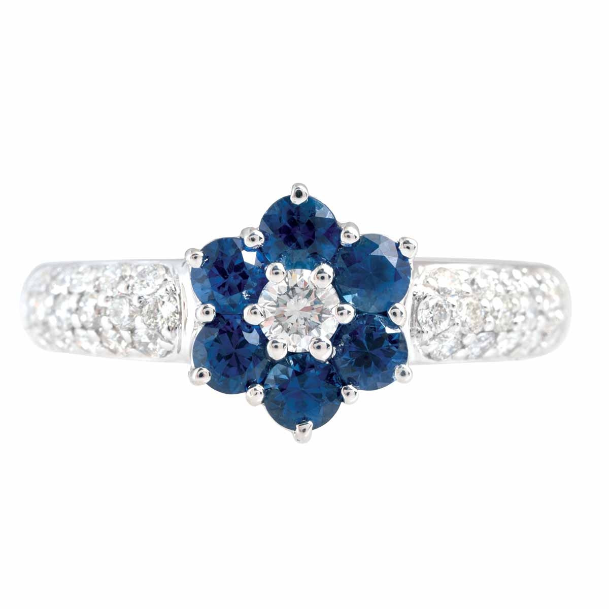 Vintage 1.15 CTW Blue Sapphires & Diamond Flower Ring