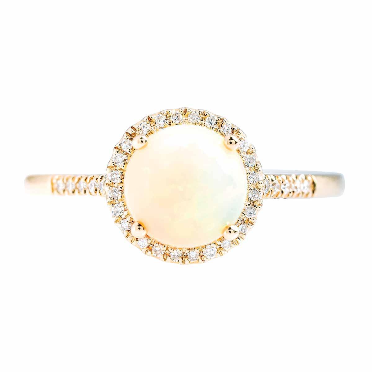 New Madison L 1.01 CTW Opal & Diamond Halo Ring