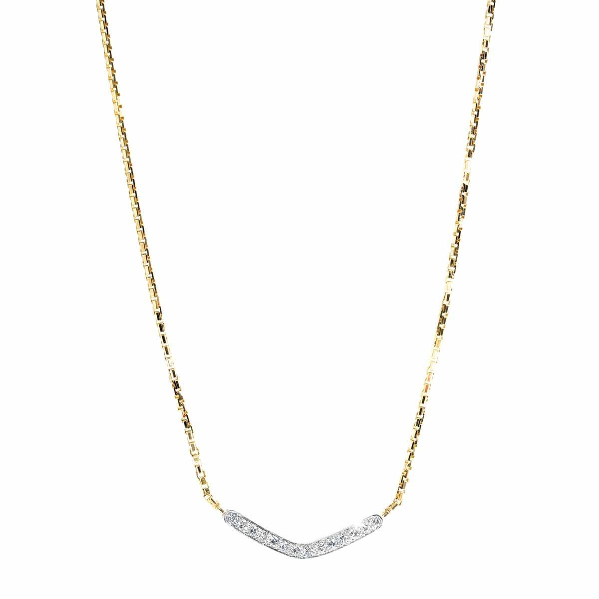 Vintage 0.70 CTW Diamond Boomerang Necklace