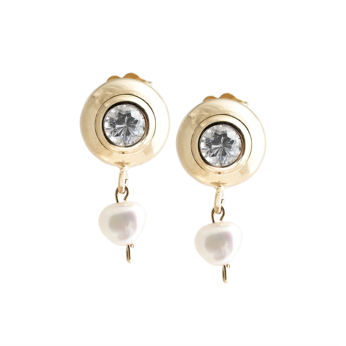 Vintage Cubic Zirconia & Pearl Drop Earrings