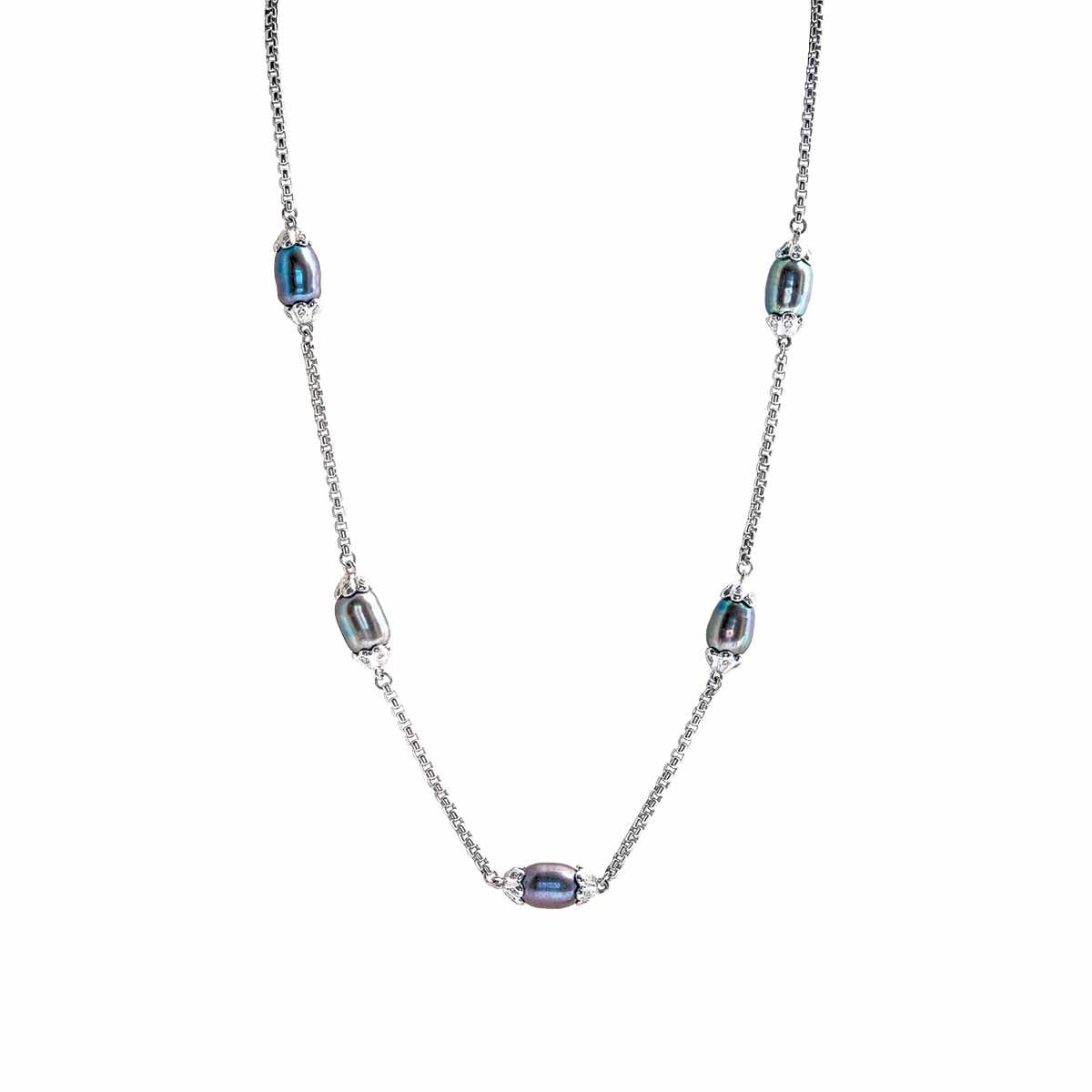 Vintage 0.30 CTW Diamond & Tahitian Pearl Necklace