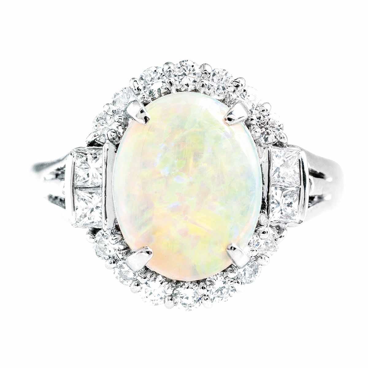 Vintage 2.48 CTW Opal & Diamond Halo Ring