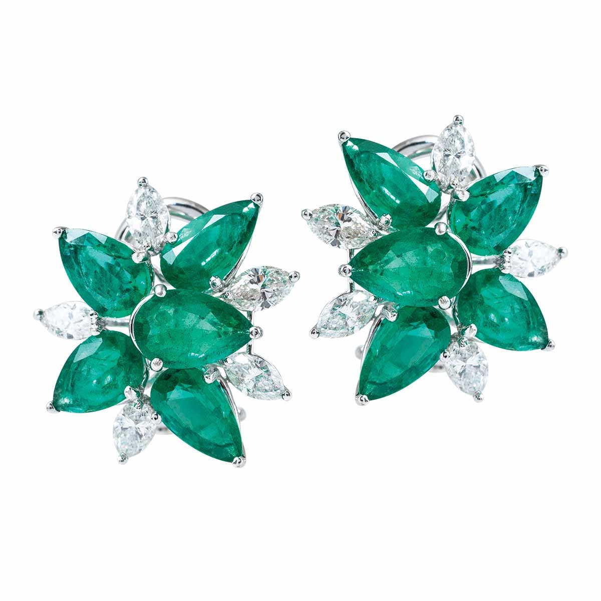 New 8.49 CTW Emerald & Diamond Cluster Earrings