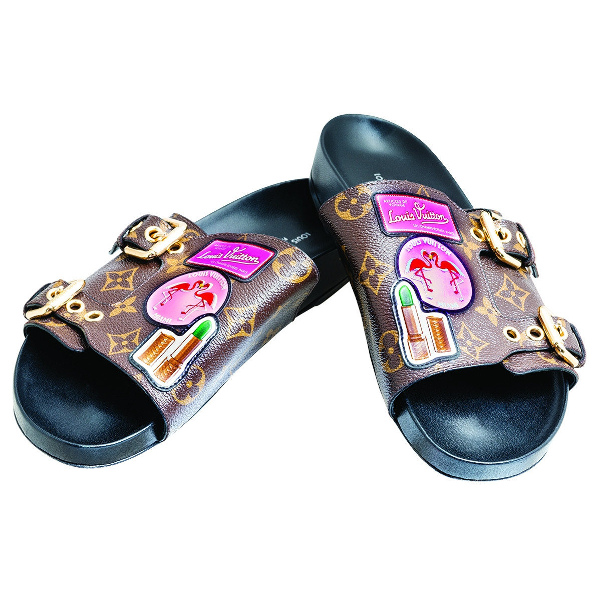 Vintage Louis Vuitton Monogram Patch Slides