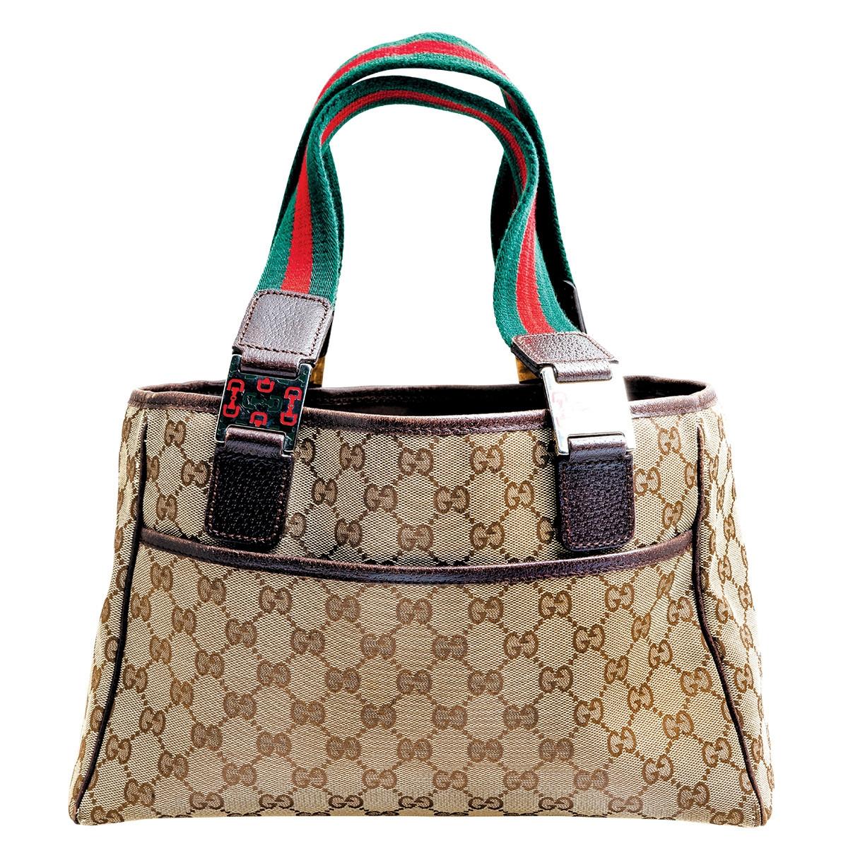 Vintage Gucci Monogram Shoulder Tote Bag
