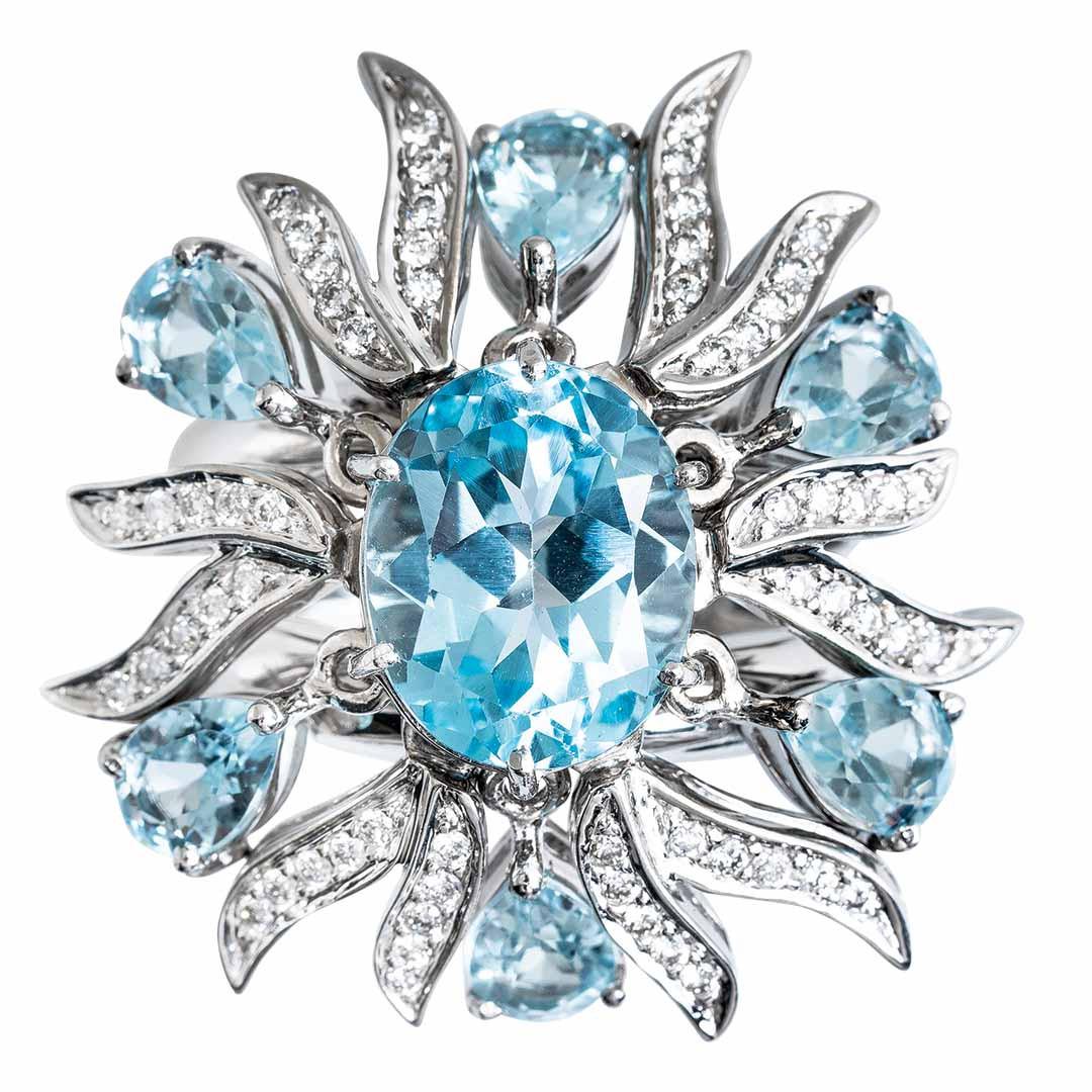 Vintage 10.30 CTW Diamond & Topaz Starburst Ring