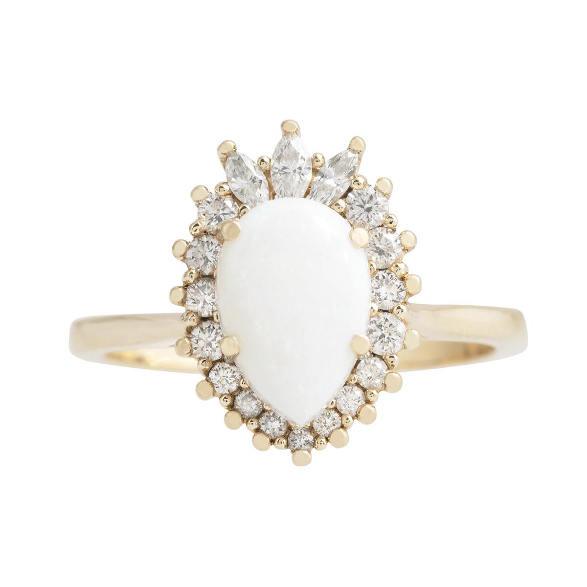 Vintage 0.98 CTW Opal & Diamond Halo Ring