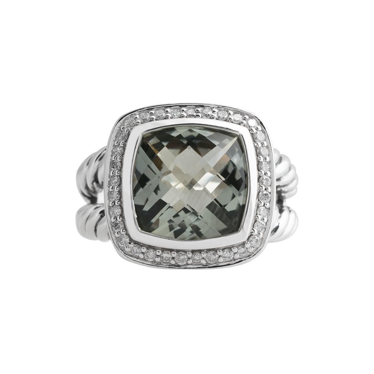 Vintage David Yurman 0.22 CTW Diamond & Prasiolite Albion Ring