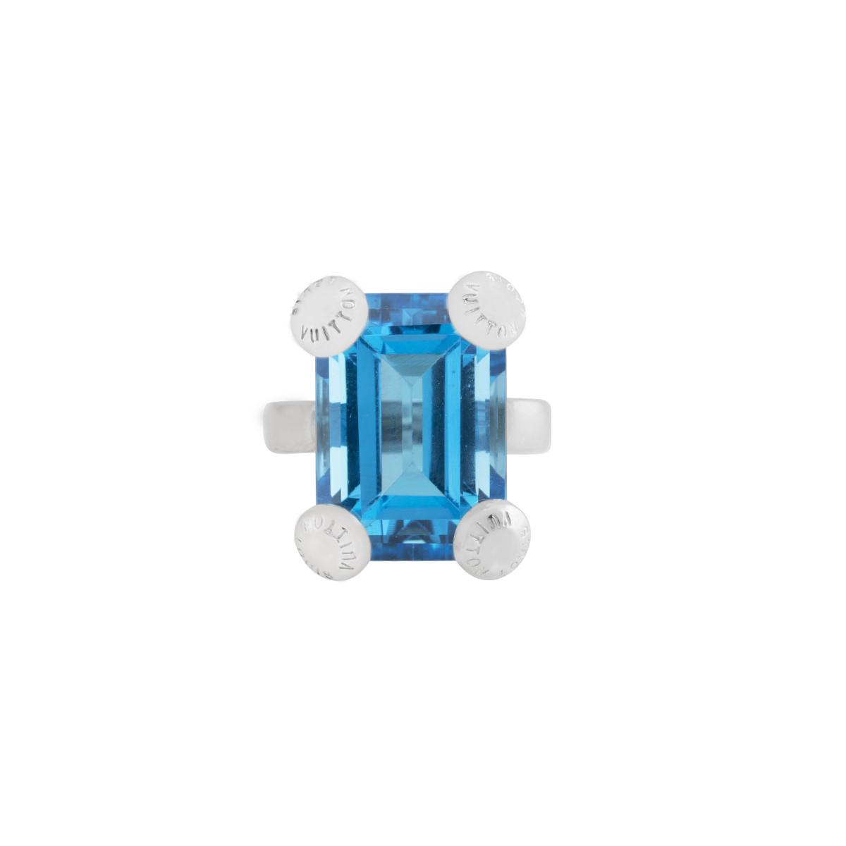 Vintage Louis Vuitton London Blue Topaz Ring