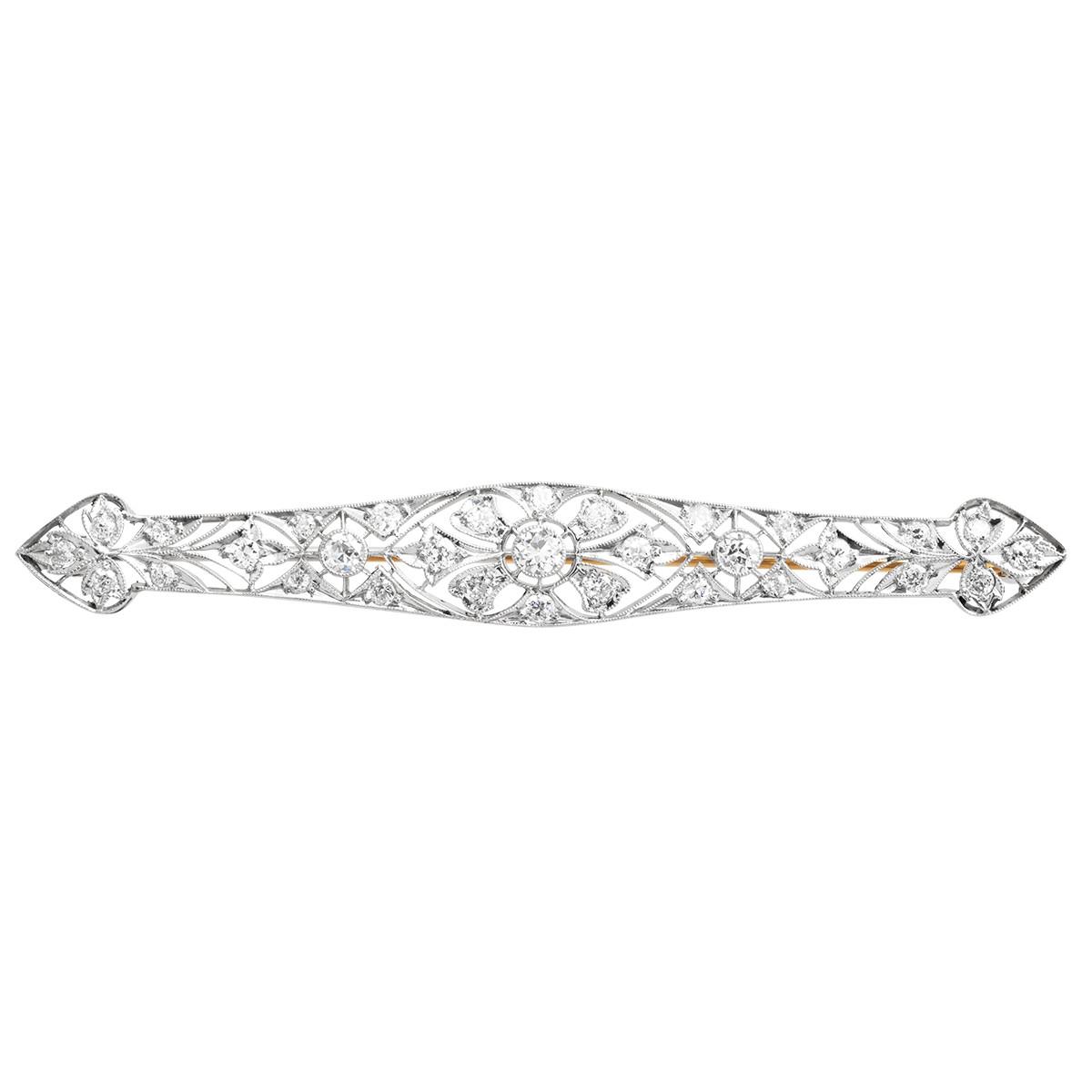 Antique 1.56 CTW Diamond Art Deco Brooch