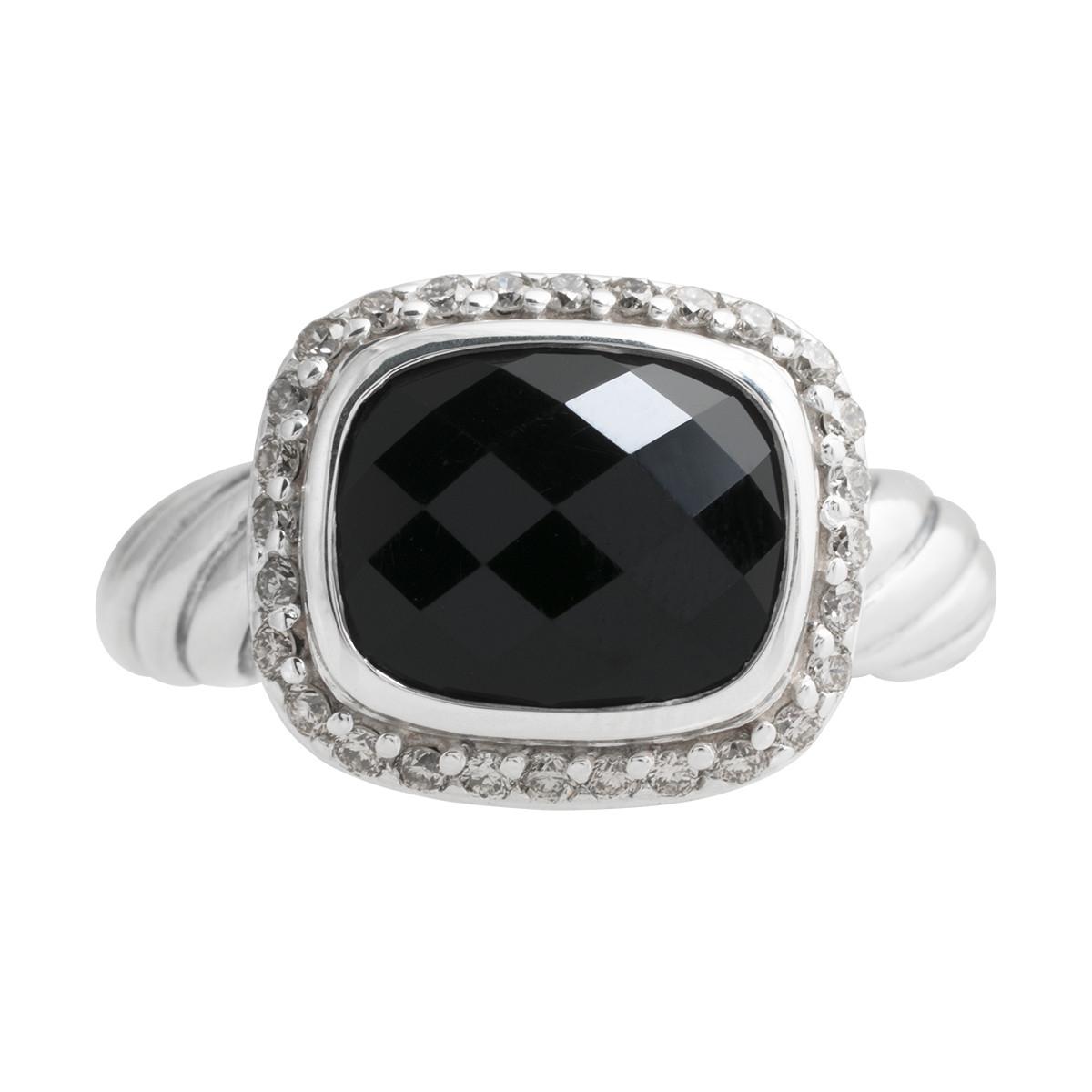 Vintage David Yurman 0.19 CTW Diamond & Onyx Halo Ring