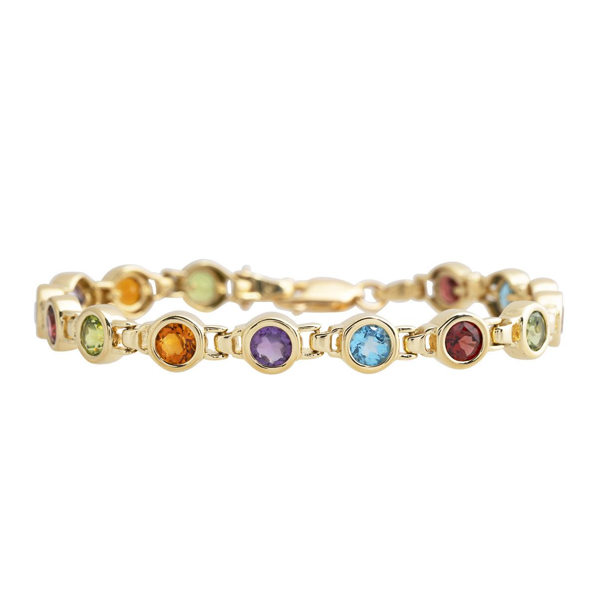 Vintage 3.75 CTW Multi Color Gemstone Tennis Bracelet